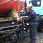 Dave Atkins getting stuck in with the angle grinder